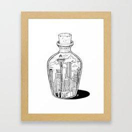 Seattle in a bottle Framed Art Print