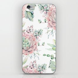 Pretty Pink Succulents Garden iPhone Skin