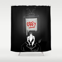 obey Shower Curtains featuring Obey by Caelan's Shop