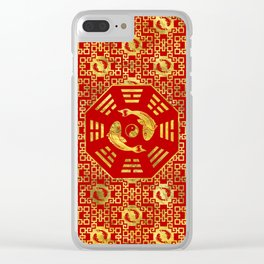 Luxury Oriental Red on Black Pair of Koi Fish in Bagua Clear iPhone Case