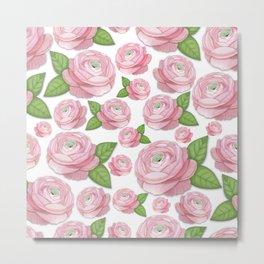 Pink Ranunculus Flower Metal Print