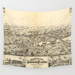Vintage Pictorial Map of Longwood Florida (1885) Wall Tapestry