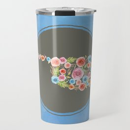 Oklahoma Watercolor Flowers on Blue Travel Mug