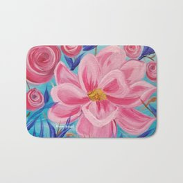 Pink and Wild, Pink Lily, Pink Flower, Pink and Blue Floral Art Bath Mat