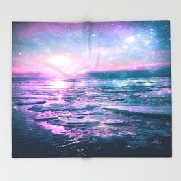 Mystic Waters Vibrant Pink Blue Lavender Throw Blanket