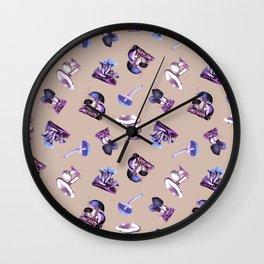 Vintage Mushrooms in Electric Violet + Tan Wall Clock