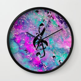 Artistic neon pink teal black watercolor classical music note Wall Clock