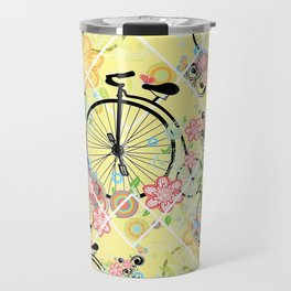 Bicycle with floral ornament Travel Mug