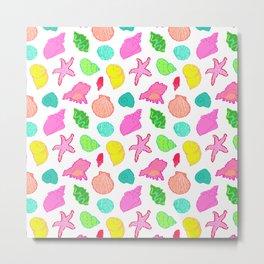 Simply Seashells Toss in White + Rainbow Metal Print