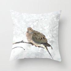 Snowy Winter Dove Throw Pillow