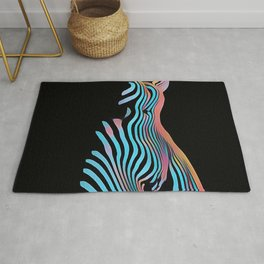 5278s-MAK Zebra Striped Nude Composition Style Sensual Curves Abstract Art Rug
