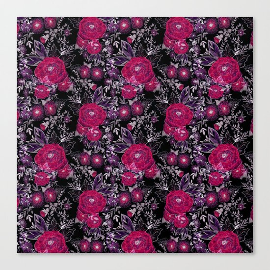 Pink roses on black background . Canvas Print