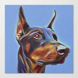 Blue Doberman Canvas Print