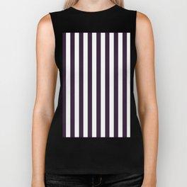 Narrow Vertical Stripes - White and Dark Purple Biker Tank