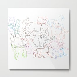 Abstract Animals Metal Print