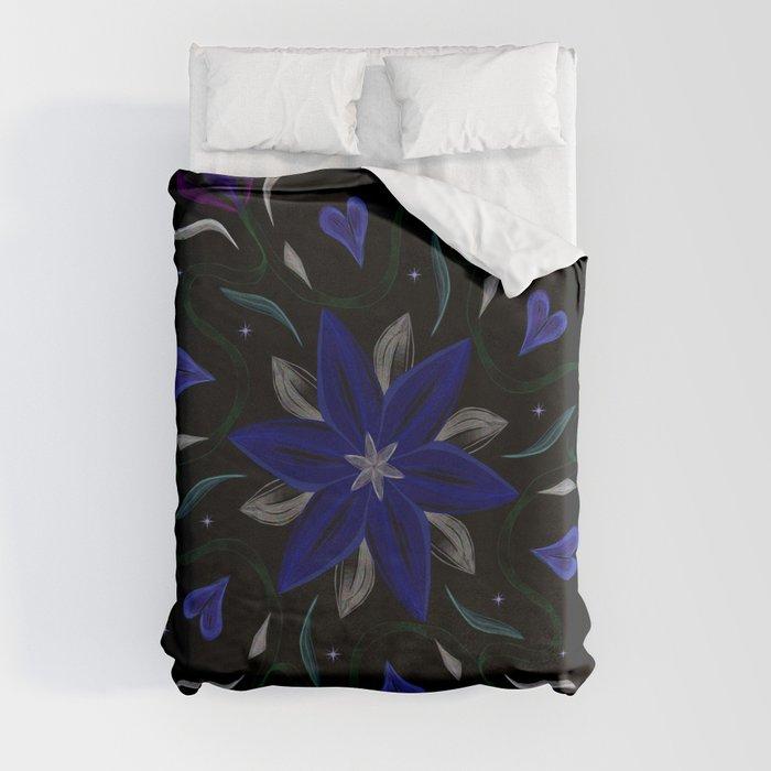 Blue Starflower Duvet Cover