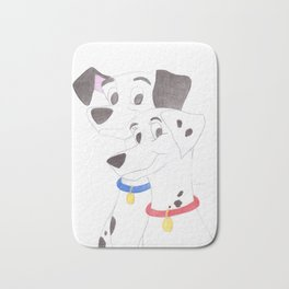 pongo and perdita from 101 dalmatians Bath Mat