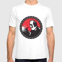 Welder Arc Welding Circle Retro T-shirt