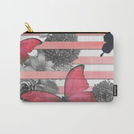 Butterflies Pink Stripes & Grayscale Flowers Carry-All Pouch