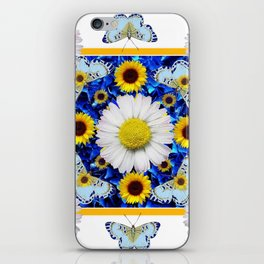 EVERYTHING'S COMING UP DAISIES & BUTTERFLIES  BLUE  ART iPhone Skin