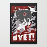 soviet Canvas Prints featuring grumpy soviet by tshirtsz