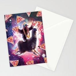 Thug Space Sloth On Llama Unicorn - Pizza Stationery Cards