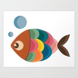 Colorful Fish Underwater Single Swimmer Art Print