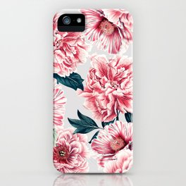 Pattern pink vintage peonies iPhone Case