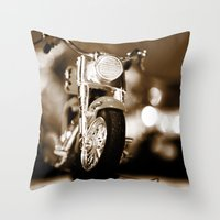 motorbike Throw Pillows featuring Motorbike-Sepia by Yar's Photography