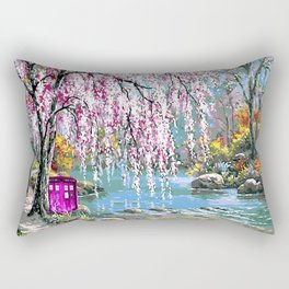 Tardis Art Cherry Blossom River Painting Rectangular Pillow