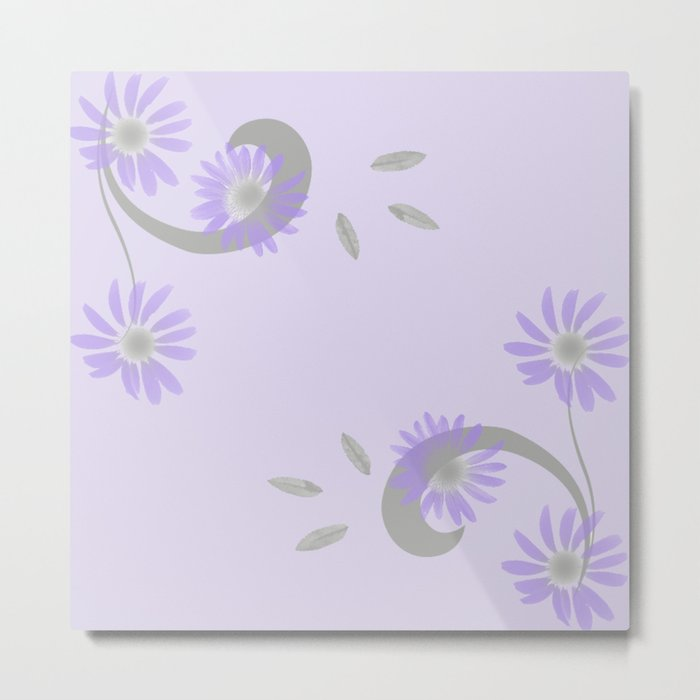 Floral Scroll Design - Purple and Lavender Metal Print