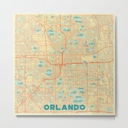 Orlando Map Retro Metal Print