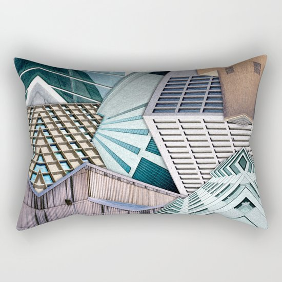 City Buildings Abstract Rectangular Pillow