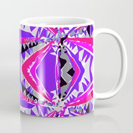psychedelic geometric abstract pattern background in pink and purple Coffee Mug