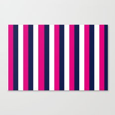 Stripes - Navy, White, Pink Canvas Print