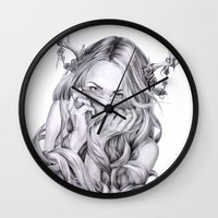sister Wall Clocks featuring Begonia's Sister by April Alayne