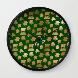 Luck of the Irish Gold & Green Wall Clock
