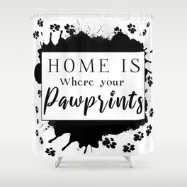 Pawprints - White Shower Curtain