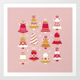 Vintage Christmas Bell Art Print