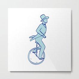 Circus Performer Riding Unicycle Drawing Metal Print