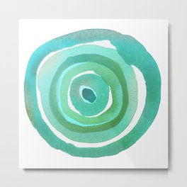 Minimalist Watercolor Circles Green Blue Rings Metal Print