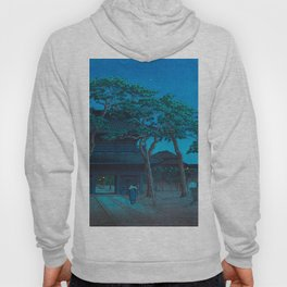 Vintage Japanese Woodblock Print Japanese Nara Park At Night Hoody