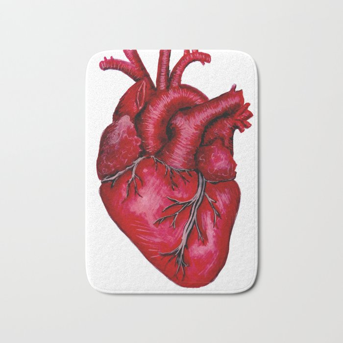 Anatomical Heart Painting Red Bath Mat By Lisska Society6