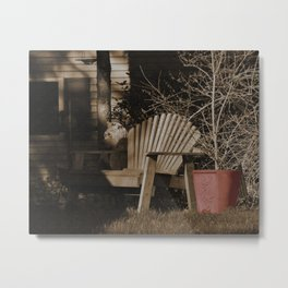 Sepia Chair By The Red Pot Metal Print