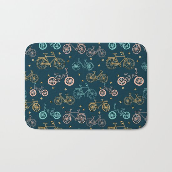 Bicycles cycle pattern navy and pastel pink by andrea lauren Bath Mat