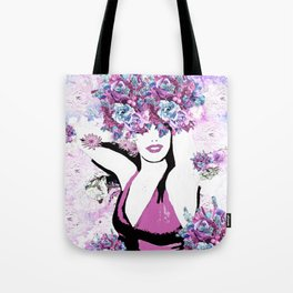 BEAUTIFUL GIRL WITH FLOWERS Tote Bag