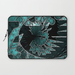 Modern Aqua Black and White abstract Laptop Sleeve