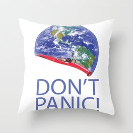 Don't Panic Red Electric Car and Starman Into Space Throw Pillow