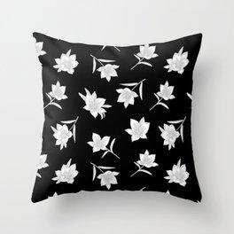 Black & White Botanical Floral Pattern Throw Pillow