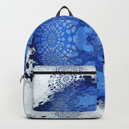 Gothic Blue Lace Distressed Mandala Backpack